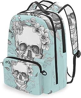 Mochila con Bolsa Cruzada Desmontable, diseño de Calavera, Color Rosa