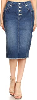 GoModest Women's Midi Denim Jean Pencil Skirt | Tznius, Knee Length, Plus Size