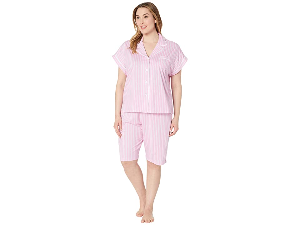 LAUREN Ralph Lauren Plus Size Notch Collar Bermuda Shorts Pajama Set (Pink Stripe) Women