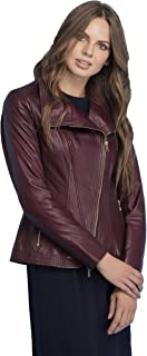 MB-Eliza Women's Pure Lambskin Leather Jacket | Natural Distressed Zipper Closure Leather Jackets