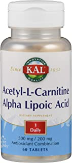 KAL Acetyl-l-Carnitine and Alpha Lipoic Acid Tablets, 500/200 mg, 60 Count