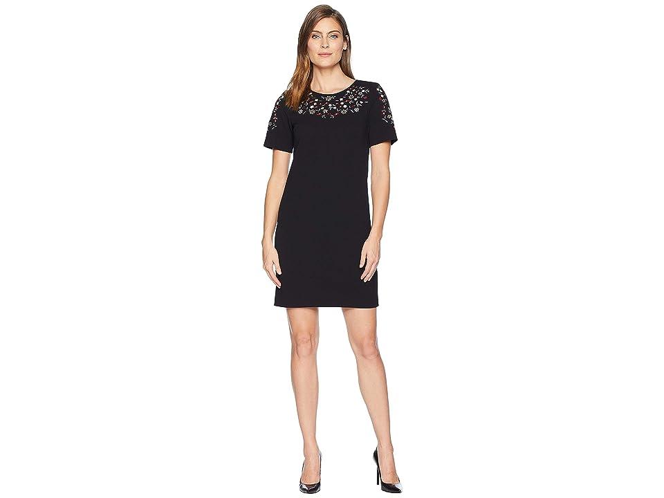 Calvin Klein Short Sleeve Embroidered Sheath Dress CD8C14RC (Black) Women