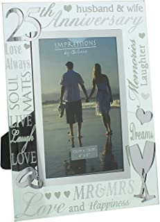 Oaktree Gifts 25th Anniversary Mirrored Photo Frame 4 x 6