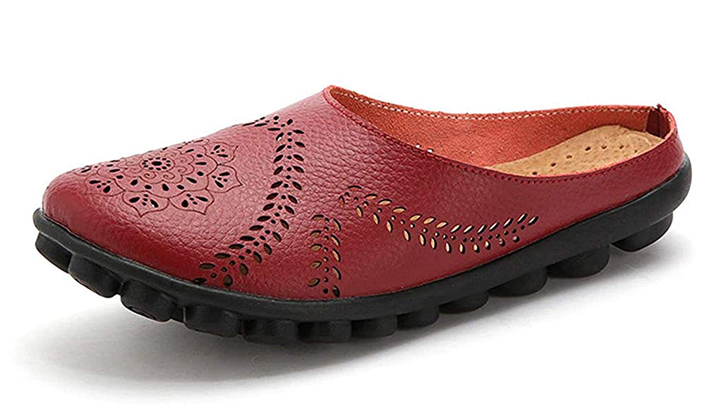 Women's Mules Slip-On Shoes Leather Clogs Flats Wall Slipper