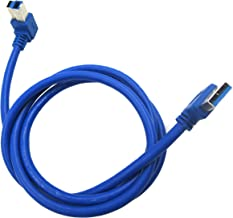 JBingGG USB 3.0 Type A Male Right Angle to Type B Male Left Angle Super Speed Cable in Blue (3 Feet)