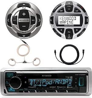 Kenwood Marine Boat Yacht Digital Media USB AUX Bluetooth Stereo Receiver (No CD), Kenwood Digital LCD Display Wired Remote, Kenwood Wired Remote, 22