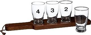 Crate & Barrel 5-piece Numbered Beer Taster Sampler Set 5-ounce Clear Pilsner Glass Set