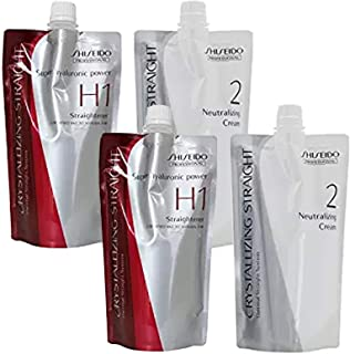 2 pack Hair Rebonding Shiseido Professional Crystallizing Hair Straightener (H1) + Neutralizing Emulsion (2) for Resistant to Natural Hair
