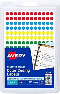 Avery Removable Color Coding Labels, 0.25 Inches, Assorted,