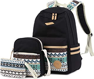 Lmeison Backpack for Teens, Canvas School Backpack Set 3 in 1 Student Bookbags