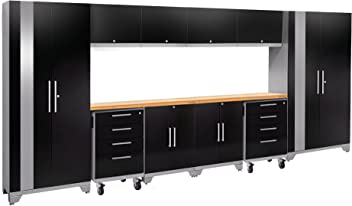 Garage Cabinets 58147 NewAge Products Performance 2.0 Diamond Plate Black 12 Piece Set