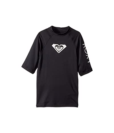 Roxy Kids Whole Hearted Short Sleeve Rashguard (Big Kids) (Anthracite) Girl