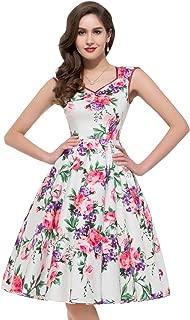 Women 50's Cocktail Dresses Floral Print Swing Dress CL7600