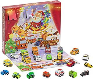 クリスマスアドベントカレンダー2021、アドベントカレンダー車のおもちゃセット、慣性車のおもちゃのブラインドボックスを引き戻す、クリスマス24日間のカウントダウンカレンダー、サプライズギフトボックスパーティーのためにおもちゃセットを解体