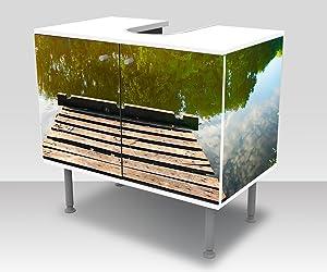 wandmotiv24 Badunterschrank Angeln Pier Designschrank Waschbeckenunterschrank M0911 Front- & Seitenbeklebung Waschbeckenunterschrank