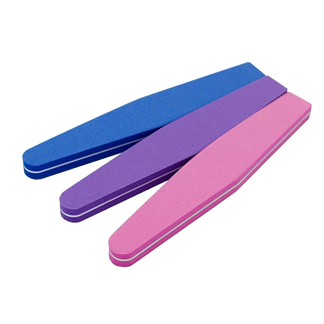 会社挨拶する雇うJomMart スポンジ ネイルファイル 爪用ヤスリ 3色セット(ピンク パープル ブルー) BY0040