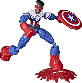 Avengers Marvel Bend and Flex Action Figure, 6-Inch Flexible Captain America Super Hero Figure Toy, Ages 4 and Up