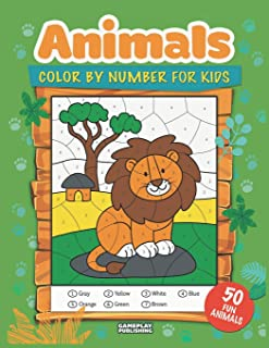 Animals Color By Number For Kids: 50 Animals Including Farm Animals, Jungle Animals, Woodland Animals and Sea Animals (Jum...