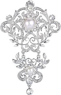 Silver-Tone Crystal Cream Simulated Pearl 4 Inch Elegant Floral Leaf Vine Wave Brooch Clear