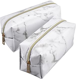 2 Pieces Cosmetic Toiletry Makeup Bag Pouch Gold Zipper Storage Bag Marble Pattern Portable Makeup Brushes Bag (S, White)