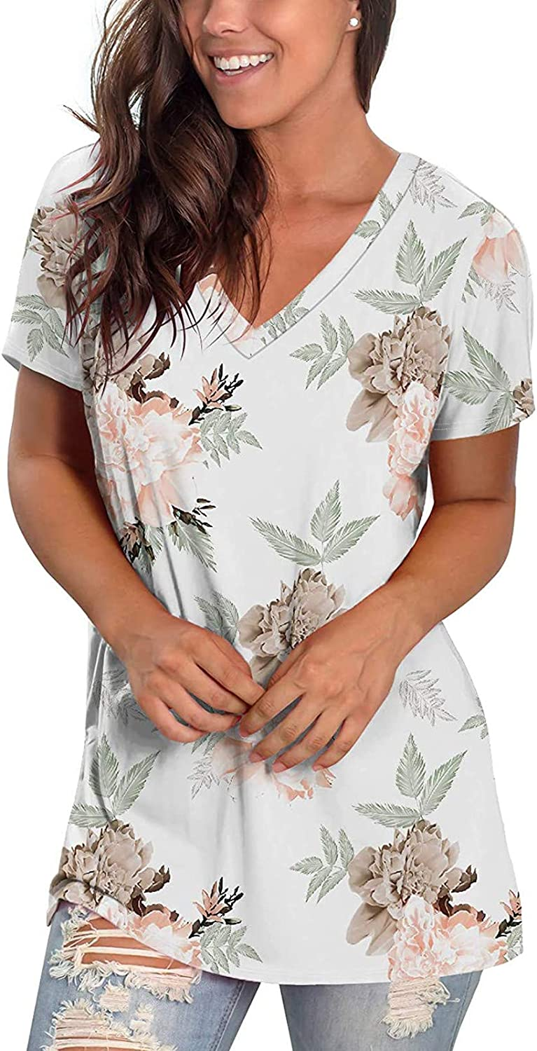 AODONG Womens Tops,Womens V Neck T Shirts Roll Up Short Sleeve Loose Solid Color Tunic Casual Plus Size Summer Shirts