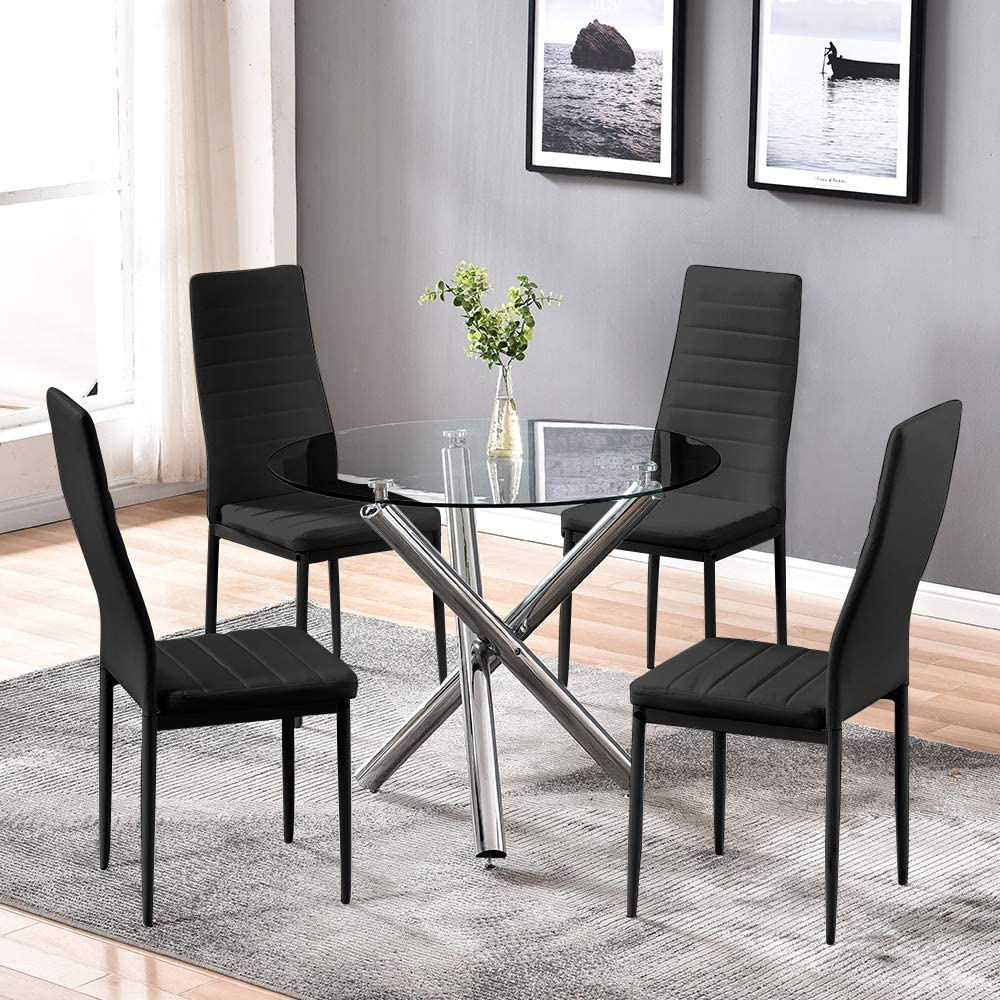 BELIFEGLORY Dining Table with Special Campaign Kitchen Max 64% OFF Chairs Glass