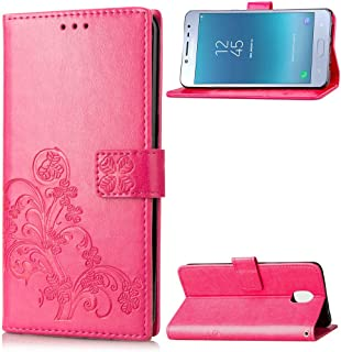 Protective Case Compatible with Samsung [Emboss Lucky Flower Four-Leaf Clover] PU Leather Wallet Case With Lanyard Strap Compatible Samsung Galaxy J3 2018/Express Prime 3/Amp Prime 3/J3 Star phone cas