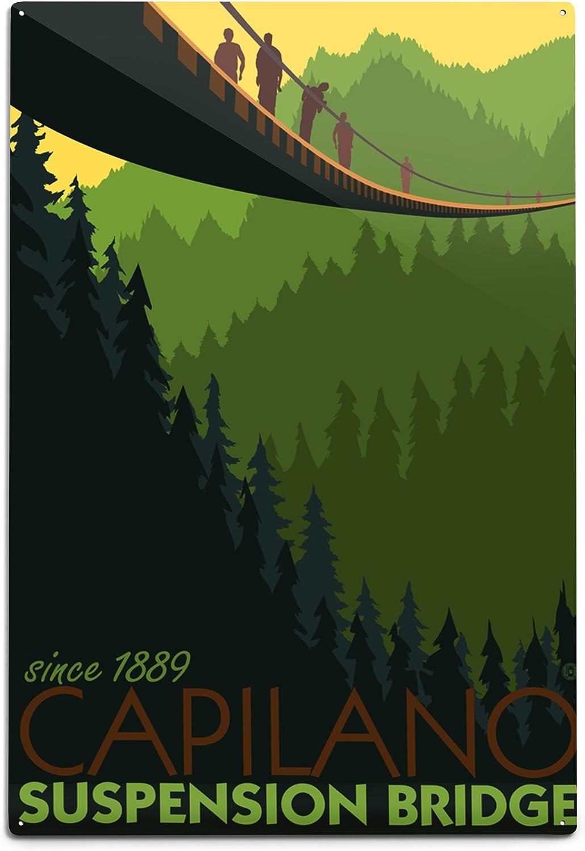 Vancouver British Columbia Capilano Suspension Bridge 12x18 Art Print Wall Decor Travel Poster Wall Art