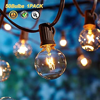 Upook Globe String Lights G40 UL Listed for Indoor Outdoor Commercial Decor 50Ft with 50 Clear Bulbs Old Fashion Vintage Patio Cafe Party Wedding Garden Backyard Deck Yard Gazebo