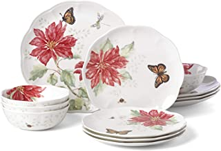 Lenox 875872 Butterfly Meadow Christmas Poinsettia 12 Piece Dinnerware Set