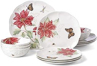 Lenox 875872 Butterfly Meadow Christmas Poinsettia 12 Piece Dinnerware Set