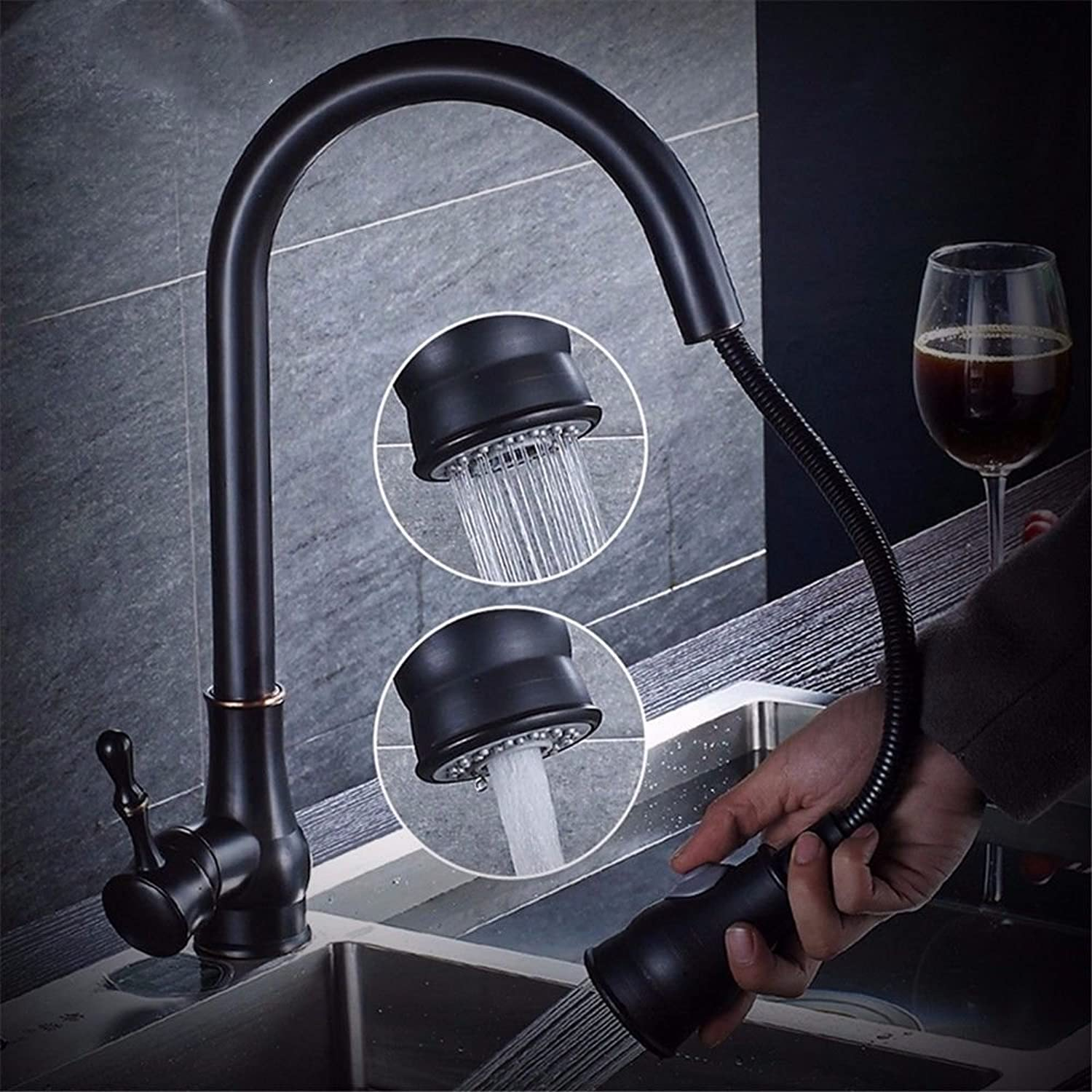AQMMi Basin Taps Bathroom Sink Faucet Pull-Out Hot and Cold Water Extendable Brass Swivel Black Bathroom Sink Faucet Basin Mixer Tap