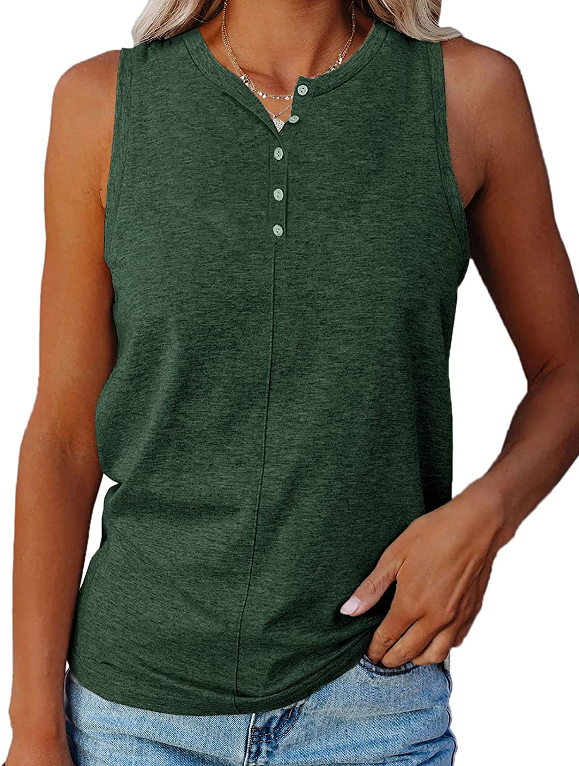 Ivay Womens Casual Cotton Tank Tops Summer Outfit Workout Sleeveless Button Down Tunic T Shirt