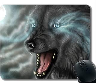 Gaming Mouse Mat,Animal Wolf Ferocious Moonlight Mousepad Nonslip Rubber Backing