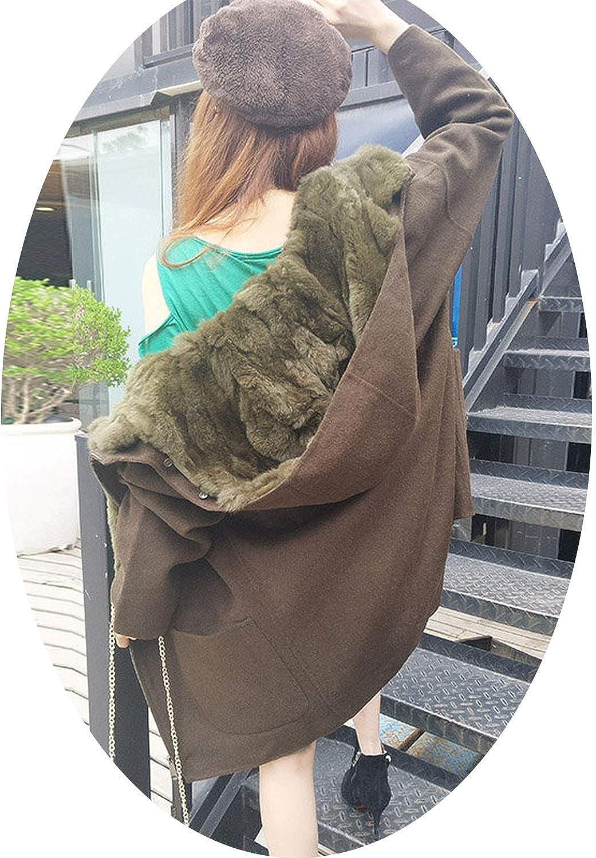 EnjoySexy 2018 Winter Parka Wool Cashmere Coat Women Fur Jacket Overcoat Collar Hooded Rex Rabbit Fur Liner