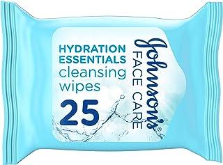 جونسون، مناديل لتنظيف الوجه، Hydration Essentials، للبشرة العادية والمختلطة، عبوة 25 منديل