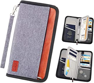 Travel Wallet with RFID Blocking - MOMO Family Travel Passport Holder Document Organizer Bag Portable Walle for Men and Women