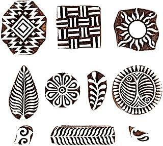 طوابع طباعة هاشكارت بتصميم مكعبات خشبية متعددة التصميم، منحوتة يدويا من اجل صناعة حرفية منسوجة, خشب, Set of 10
