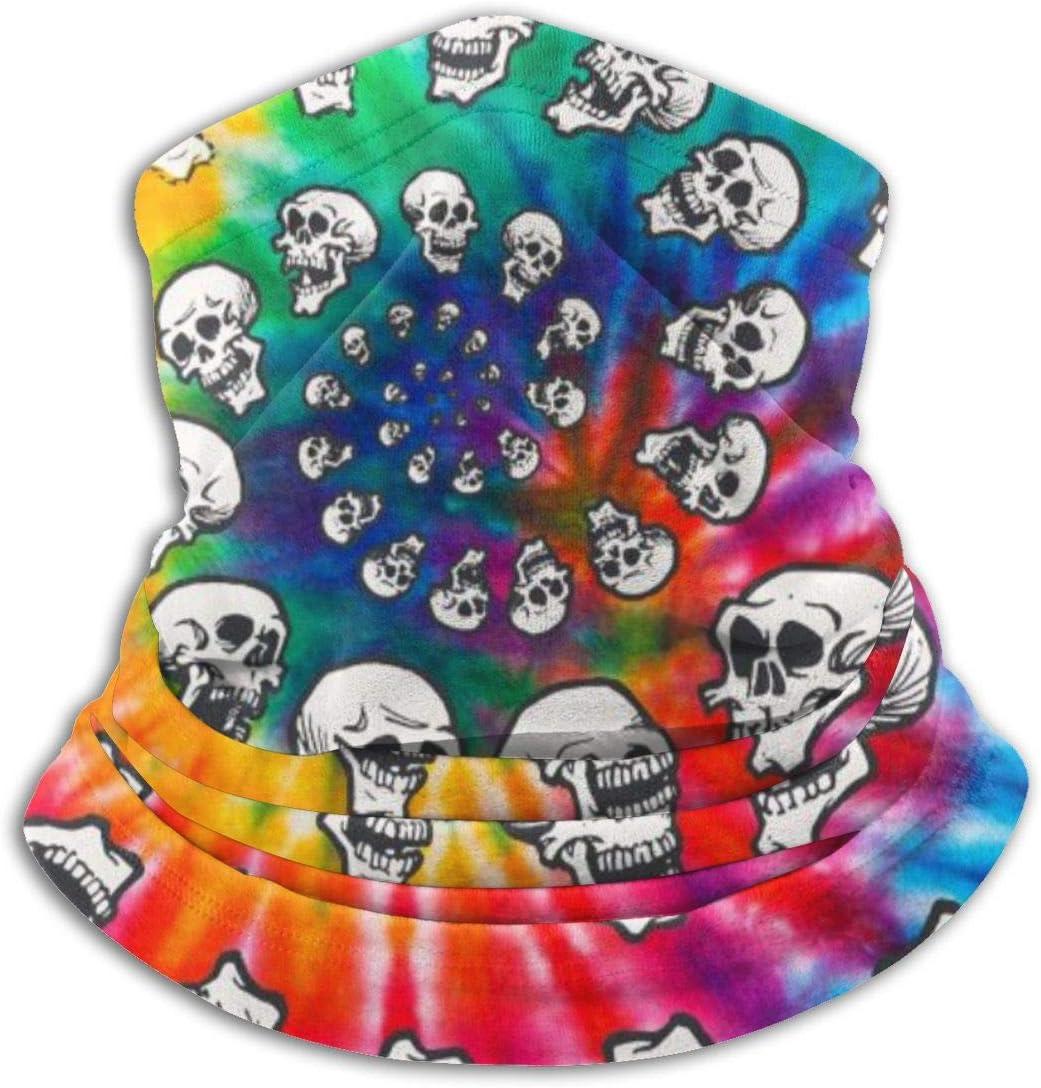 CLERO& Scarf Fleece Neck Warmer Rainbow Spiral Skulls Tie Dye Skull Windproof Balaclava Ski Mask Cold Weather Face Mask Winter Hats Headwear Gaiter Neck Warmer for Men Women