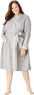 Dreams & Co. Women's Plus Size Heathered Knit Robe