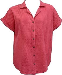 Ezze Wear Women`s Ronnie Mirage Cotton Shirt Tunic Top Coral