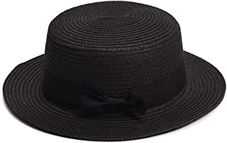 Lawliet Womens Mini Straw Boater Hat Fedora Panama Flat Top Ribbon Summer A456