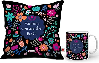 "Indigifts Mumma You are Best Quote Artistic Floral Doodle Multi Mug 330 ml and Cushion Cover 12""x12"" with Filler - Gift fo..."