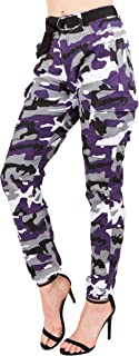 TwiinSisters Women's High Rise Slim Fit Color Jogger Pants Matching Belt - Size Small to 3X