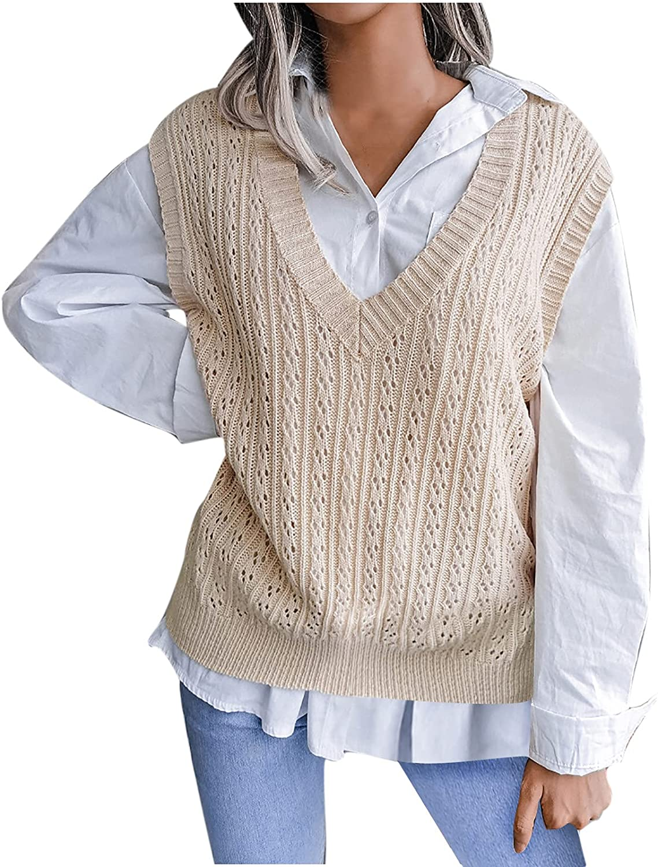 New Sweater Vests for Teen Girls V Neck Sleeveless Tops Diamond Knitted Pullover Fall Winter Blouses