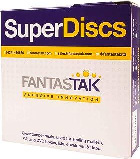 Super Discs, 2000 discos adhesivos permanentes perforados de 25 mm en un rollo de cinta adhesiva transparente, adhesivos circulares, selladores de seguridad, transparente, 2000 x 25mm peelable no perf