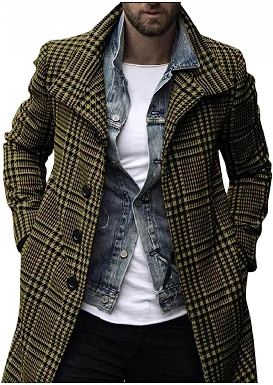 LEIYAN Mens Fleece Trench Coat Long Sleeve Lapel Casual Single Breasted Winter Warm Long Jacket Windbreaker Plus Size