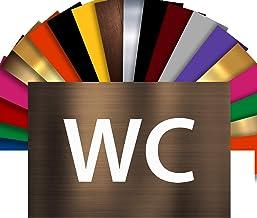 WC deurbordje | Naamplaatje PVC gravure zelfklevend 15 x 10 cm | 17 kleuren verkrijgbaar (brons lettertype wit)
