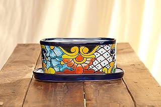 "Jayde N` Grey Talavera Pottery Vibrant Hand Painted Ceramic Plant Pot Planter Indoor Outdoor Use with Drip Dish Flower Vase (Medium 11"" x 6.5"" x 4.5"", Blue Multi)"