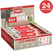 CHOMPS MINI Grass Fed Beef Jerky Meat Snack Sticks   Keto Certified, Whole30 Approved, Paleo, Low Carb, High Protein, Gluten Free, Sugar Free, Non-GMO   43 Calorie 0.5 Oz Sticks, Original Beef 24 Pack